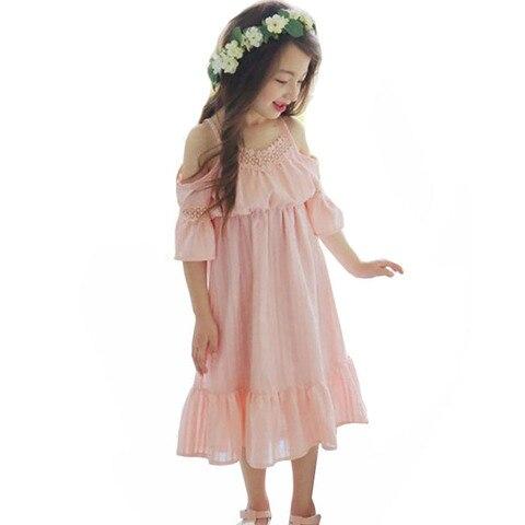 verao criancas vestidos para meninas doce princesa praia vestido elegante rendas algodao vestido de verao