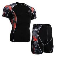 Manica Corta da Uomo estate Set Palestra Training Uomo Vestiti di Fitness Compressione Shirt & Shorts Allenamento Rashguards MMA Boxing Abbigliamento