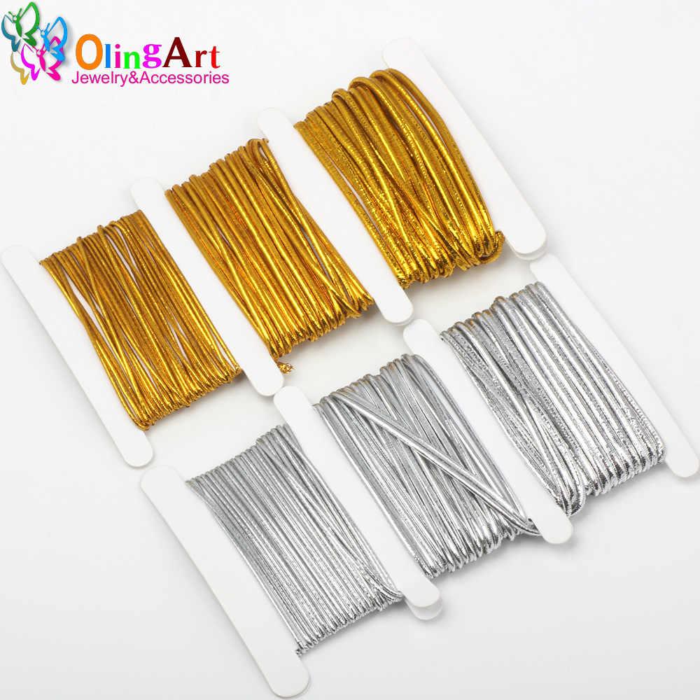 OlingArt 1,0mm/1,5mm/2,0mm 3 M/9 M de oro/plata color de hilo de Nylon cuerda Elástica cuerda línea cable DIY joyería fabricación pulsera