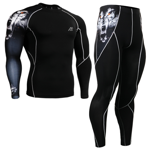 2016 men's track suit running base layer sets for biking long sleeve tiger head shirts+tights pants size s-4xl цены онлайн
