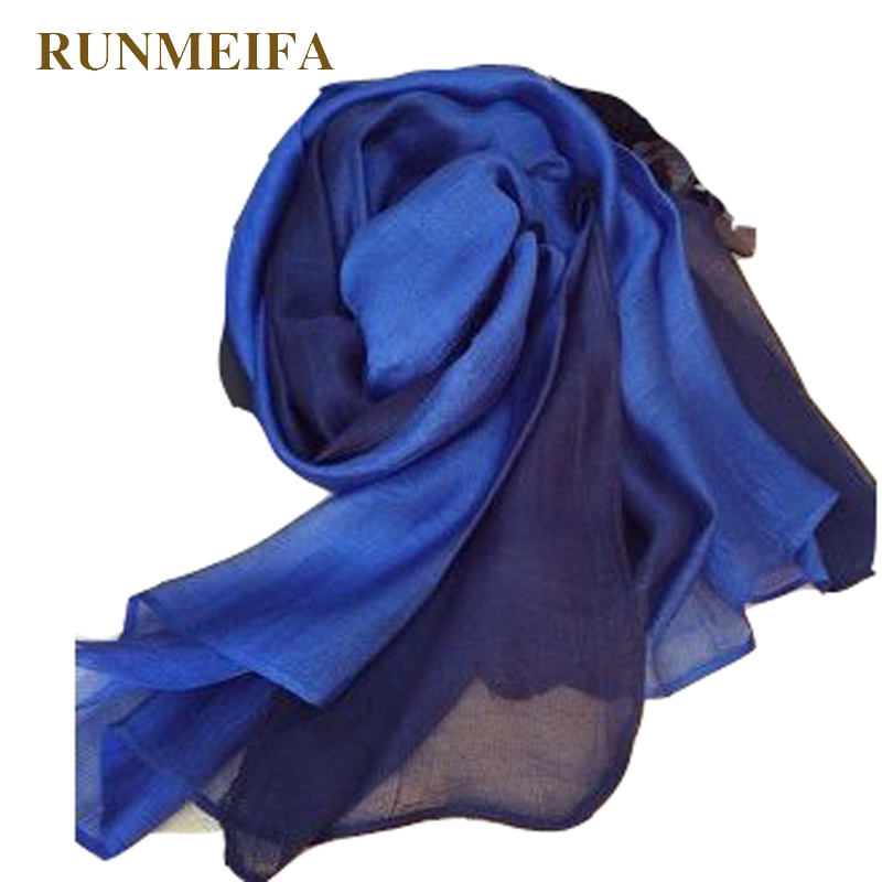 RUNMEIFA 100% silk   scarf     wrap   shawl hijab for women gradient solid color Long fashion muslim foulard femme Scarves190x65cm