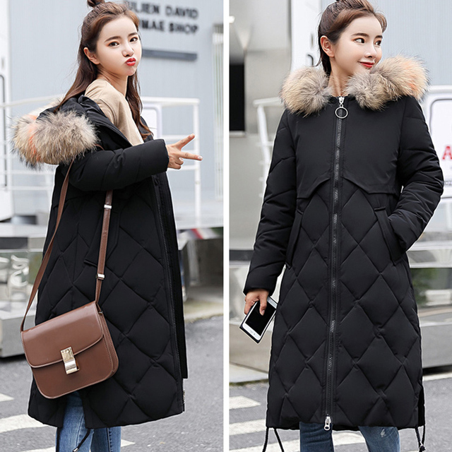 2496ca79c723b Women Long Parka Fur Collar Cotton Padded Coats Feminine Coat Women s Parks Clothes  Ladies Clothing Winter Warm Fur Collar 161