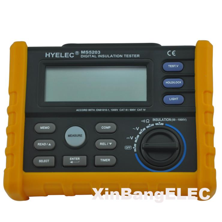 Digital Megger 1000V Digital Insulation Resistance Tester Meter 0.01 Ohm~200 Ohm MegOhmmeter hyelec ms5203 digital megger 1000v insulation resistance tester meter dc ac voltage resistance insulation tester