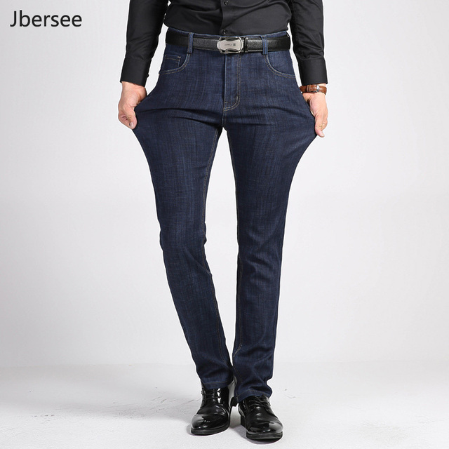 81a674c07 Jbersee Mens Jeans Brand Casual Straight Leg High Waist Jeans Men Slim  Stretch Jean Men Denim