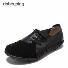 Dobeyping חדש אמיתי עור נשים דירות אביב סתיו אישה נעלי תחרה עד נשים של מוצקים לופרס נשי מזדמן נעל גודל 35 44