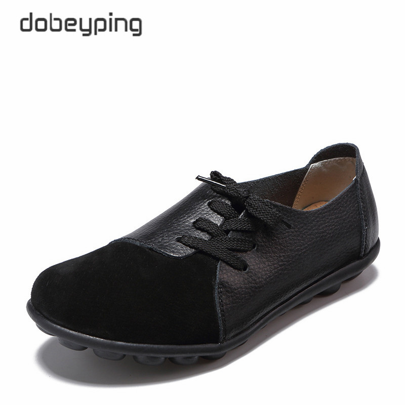 Dobeyping New Genuine Leather Women Flats Spring Autumn Woman Shoes Lace Up Women's Loafers Solid Female Casual Shoe Size 35-44