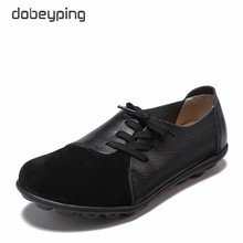 dobeyping New Genuine Leather Women Flats Spring Autumn Woman Shoes Lace Up Womens Loafers Solid Female Casual Shoe Size 35-44