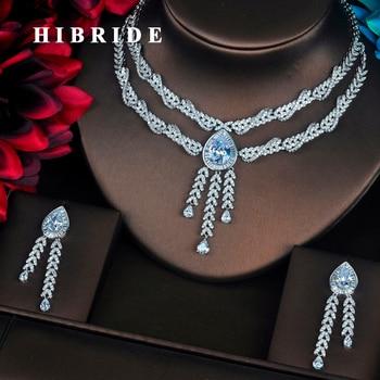 HIBRIDE Luxury Water Drop Shape Pendant Micro CZ Pave Women Jewelry Sets Necklace Sets  Dress Accessories Wholesale Price N-397
