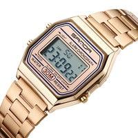 SANDA Luxury Golden Watches Men LED Digital Watch Sports Clock Men S Stainless Steel Military Waterproof