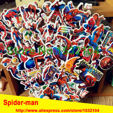 6Pcs/Lot Science fiction movie spider-man wall stickers childrens classic toys decor for kids Birthday Gift