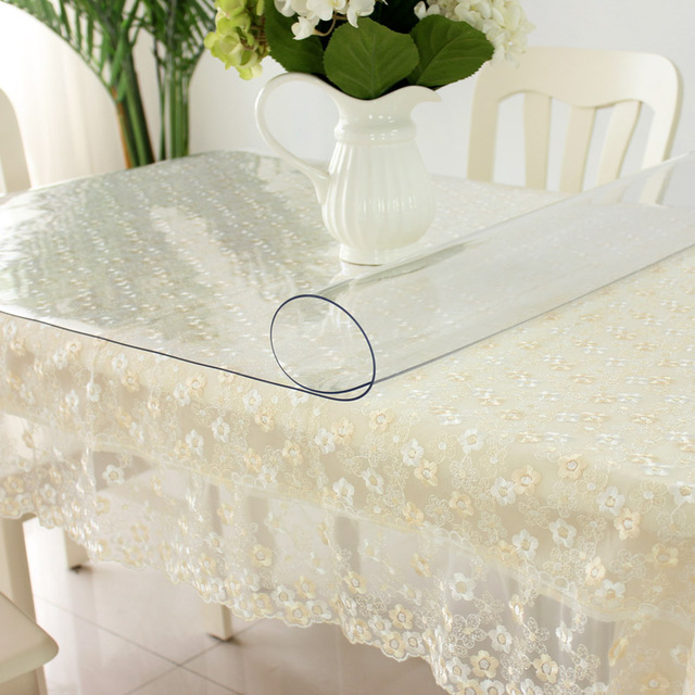 Customize Soft PVC Waterproof Tablecloth Transparent Soft Glass - Custom table pads 69 usd