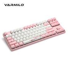 DHL Varmilo VA87M USD Różowy Mechancial Gaming Keyboard Przełączniki Cherry MX Srebrny Czerwony Swithces cisza