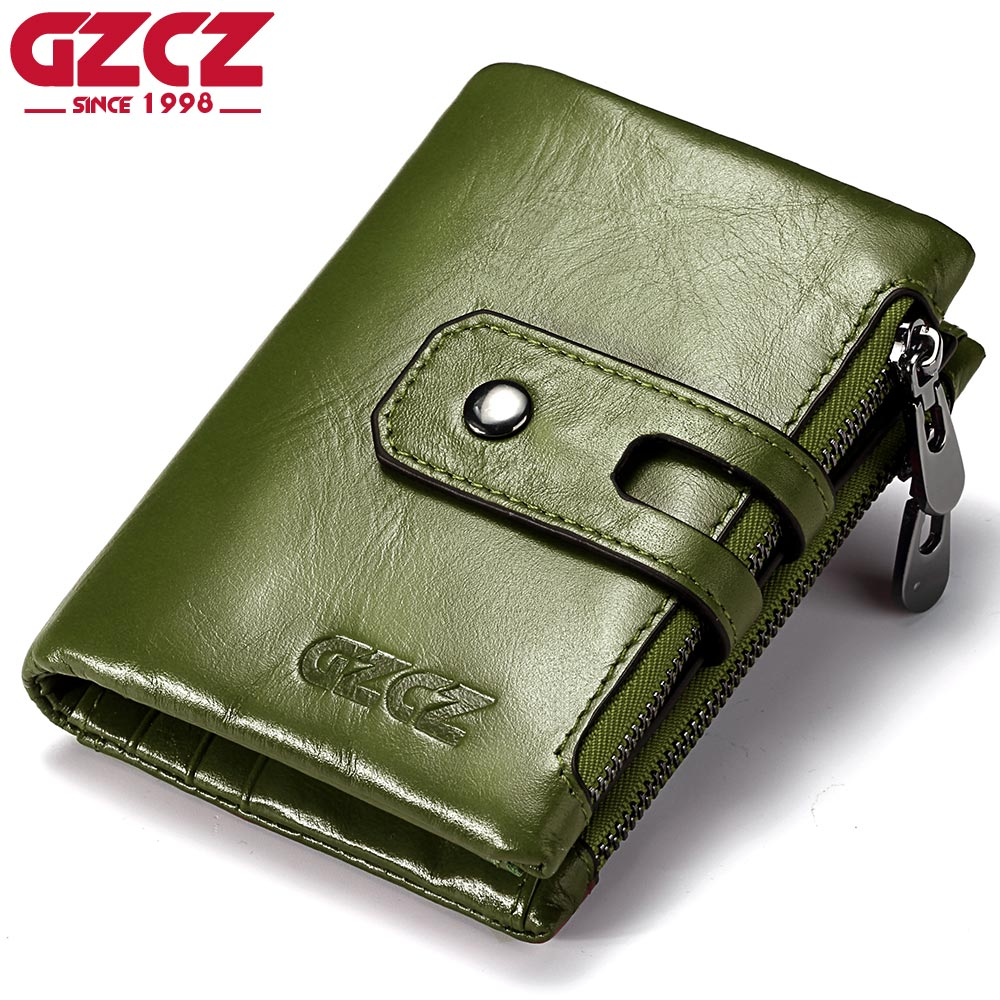 GZCZ Genuine Leather Women Wallet Double Zipper Coin Purse Business Woman Female Money Bag Small Card Holder Bifold Vallet 2018