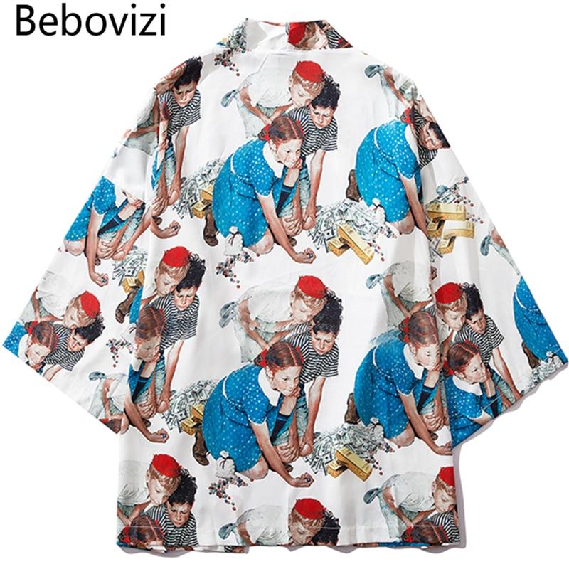 Bebovizi Japan Style Cute Child Printed Streetwear Losse Jackets Thin Kimono 2019 Men Japanese Casual Outerwear Clothes