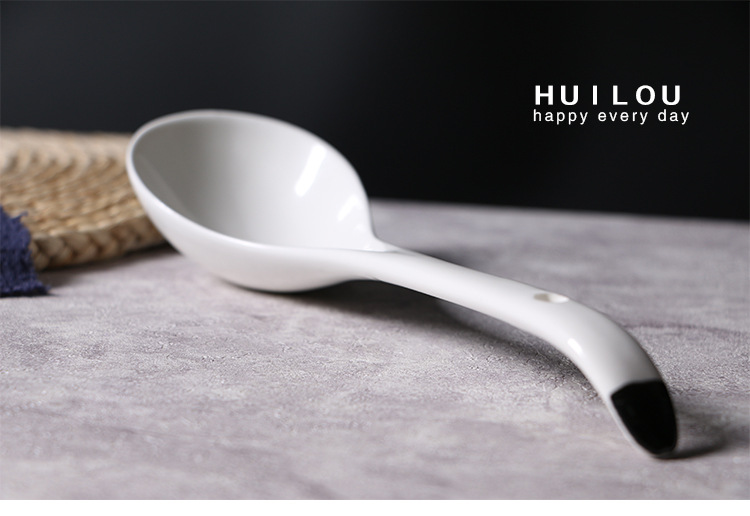 Creative Large Ceramic Spoons Home Soup Hotel Long Handle Kitchen Supplies