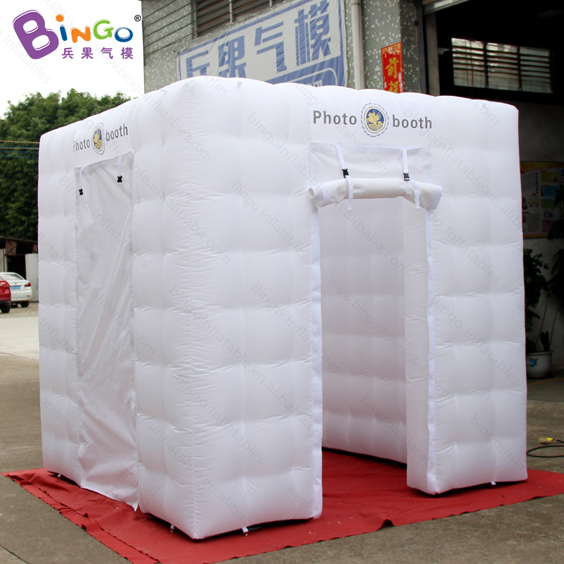 Free shipping 8X8X8 ft white color inflatable photo booth cabin kiosk with customized logo for advertising cube tent toy tent