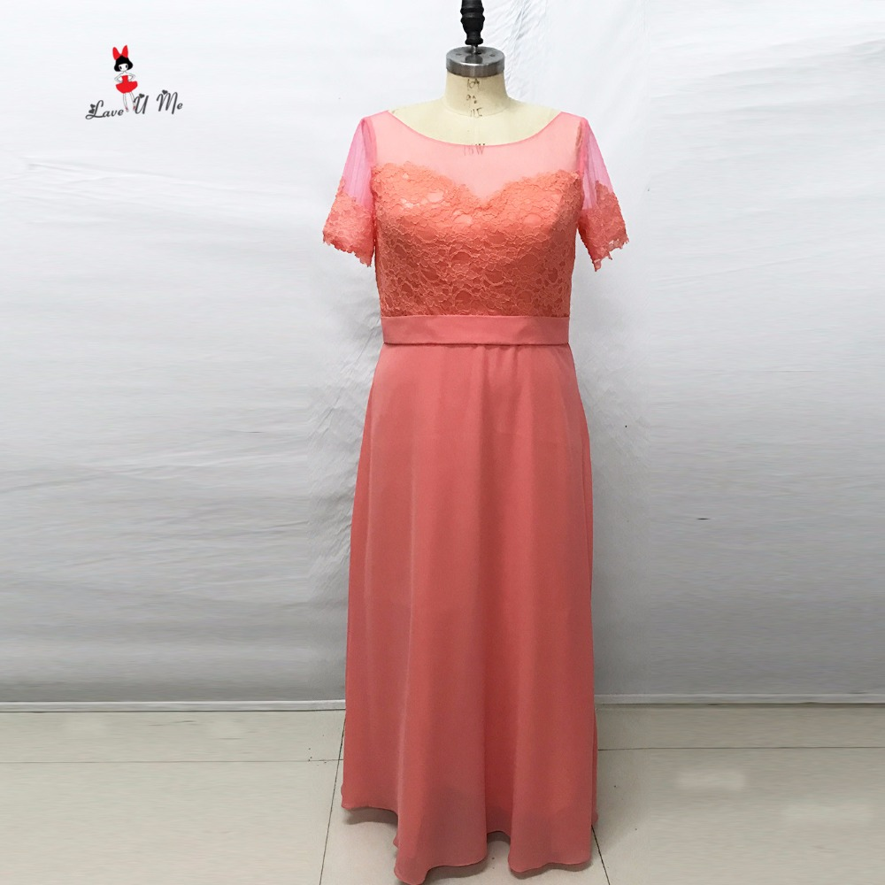 Coral colored bridesmaid dresses short sleeve lace wedding for Long sleeve dresses to wear to a wedding