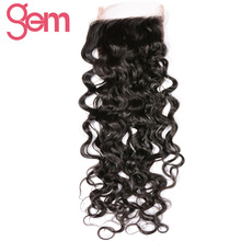 Brazilian Water Wave Lace Closure Gem Beauty Hair Free Part Hand Tied Remy Hair Closure Swiss Lace Hair Extensions 8″ – 20″ 1pcs