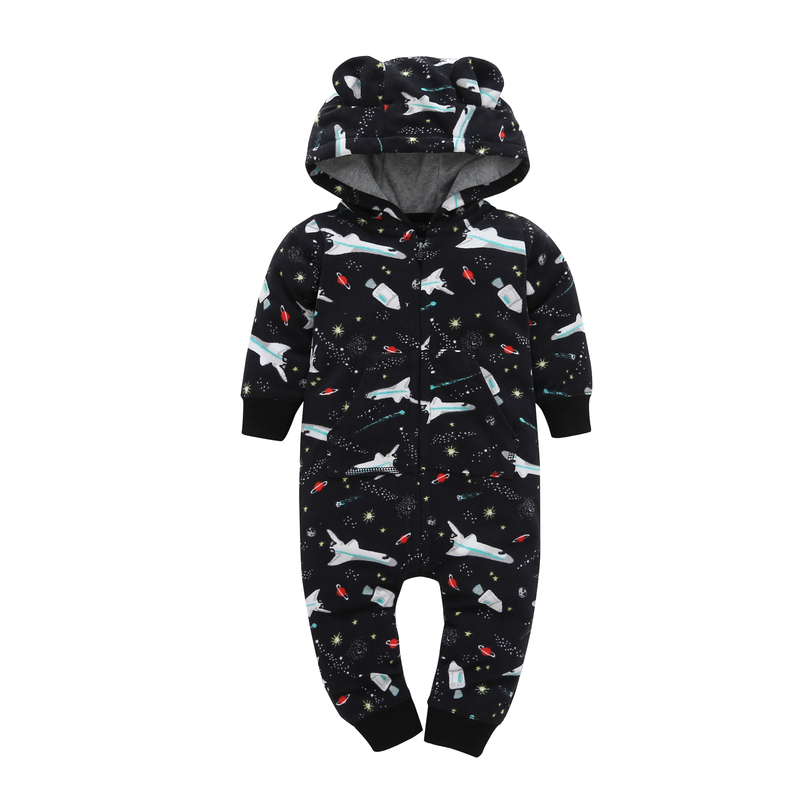 Autumn Winter Baby Boy Rompers Black Airplane Cotton Jumpsuit Long Sleeve Thick Fleece Zipper Rompers Baby Boy Clothes V20 warm thicken baby rompers winter long sleeve organic cotton autumn
