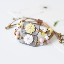 Fashion delicate hand-woven bracelet jewelry beautiful white flowers ceramic beaded bracelet- Free Shipping