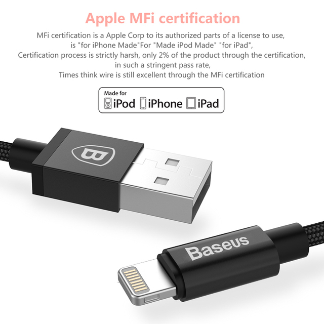 Basues Metal MFI certified Lightning to USB Cable For iPhone 5 SE 6s plus iPad Nylon Braid Fibre fast charging iPhone Cable USB