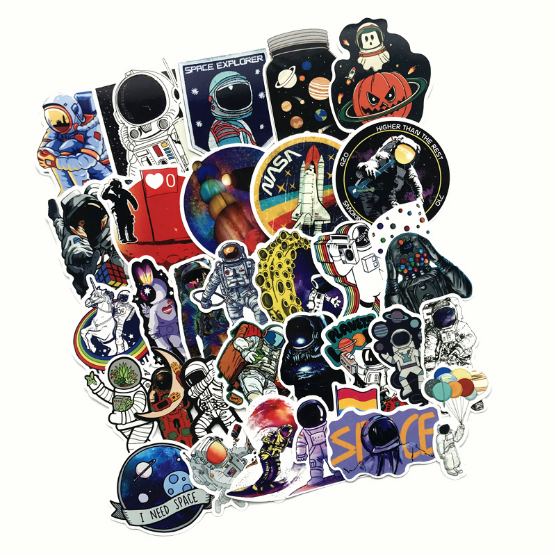 50Pcs Outer Space 2019 Astronaut Stickers For Suitcase Skateboard Laptop Luggage Fridge Phone Car Styling DIY Decal Sticker