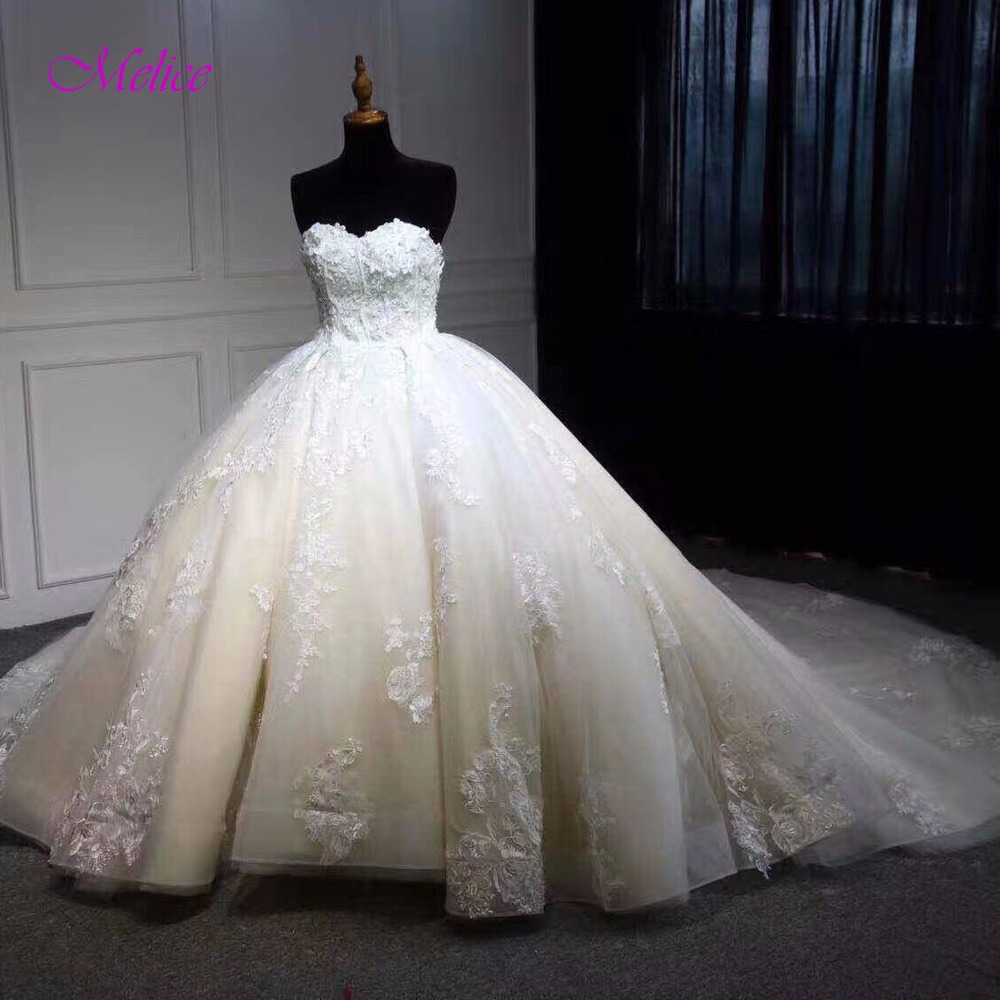 Melice Sexy Strapless Lace Up Ball Gown Wedding Dress 2019 Beaded Appliques Court Train Princess Wedding Gown Vestido De Noiva