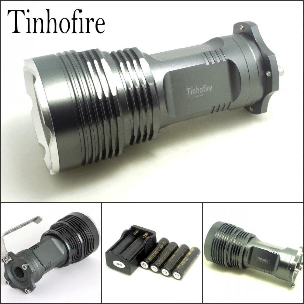 Tinhofire 5T6 Super Light 35W 6000 Lumens CREE XML XM-L 5x T6 LED Flashlight Torch Lamp light+4*18650 battery+travel charger tinhofire 6870 cree xm l 2 2000 lumens l2 led flashlight torch light lamp micro usb input 5v charger with battery