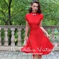 FRETE GRÁTIS Le Palais Vindima 2016 Verão Nova Chegada Elegante Gola Vestido de Manga Curta de Cintura Alta Magro Meio Vermelho mulheres