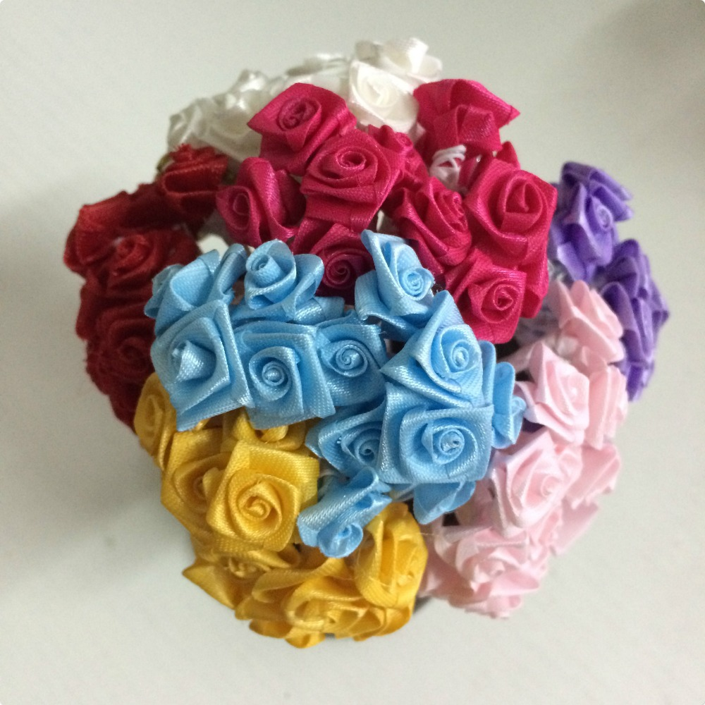 2014 new 15cm head mix colour mulberry satin ribbon flower bouquet 2014 new 15cm head mix colour mulberry satin ribbon flower bouquetwire stem scrapbooking artificial rose flowers144pcslot in artificial dried izmirmasajfo