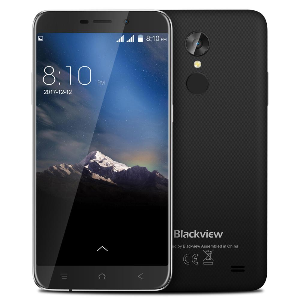 Blackview A10 3G <font><b>Smartphone</b></font> <font><b>Android</b></font> <font><b>7.0</b></font> Mobile Phone MT6580A Quad Core 2GB RAM 16GB ROM 5inch HD Fingerprint 8.0MP Rear Camera image