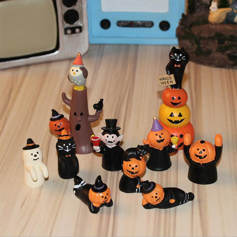 Holloween Pumpkin lantern Jack Miniature ghost figurine Christmas Decoration wedding Mini Fairy Garden toy figure ornaments gift ...