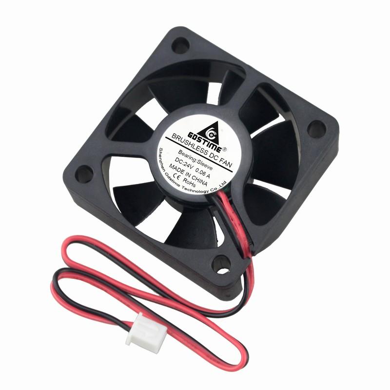 Gdstime 2 Pcs 0.06A DC 24V 50mm X 15mm Small Brushless Cooling Fan 50x50x15mm Silent PC Cooler Radiator 5cm 5015 2Pin