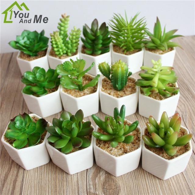 1 Set Petite Fleur Bonsai Succulent Artificielle Pvc Cactus Lotus