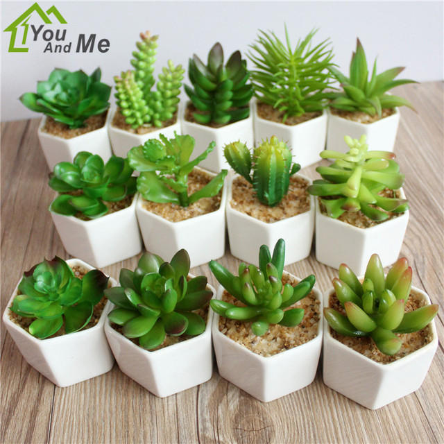 1 Set Small Flower Bonsai Artificial Succulent Pvc Cactus Lotus Plant White Ceramics Flowerpot Home