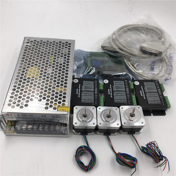 3Axis Nema17 56.6oz.in L40mm Stepper Motor Driver Kit + Power Supply + 5Axis Breakout Board + Parallel USB Cable CNC Set