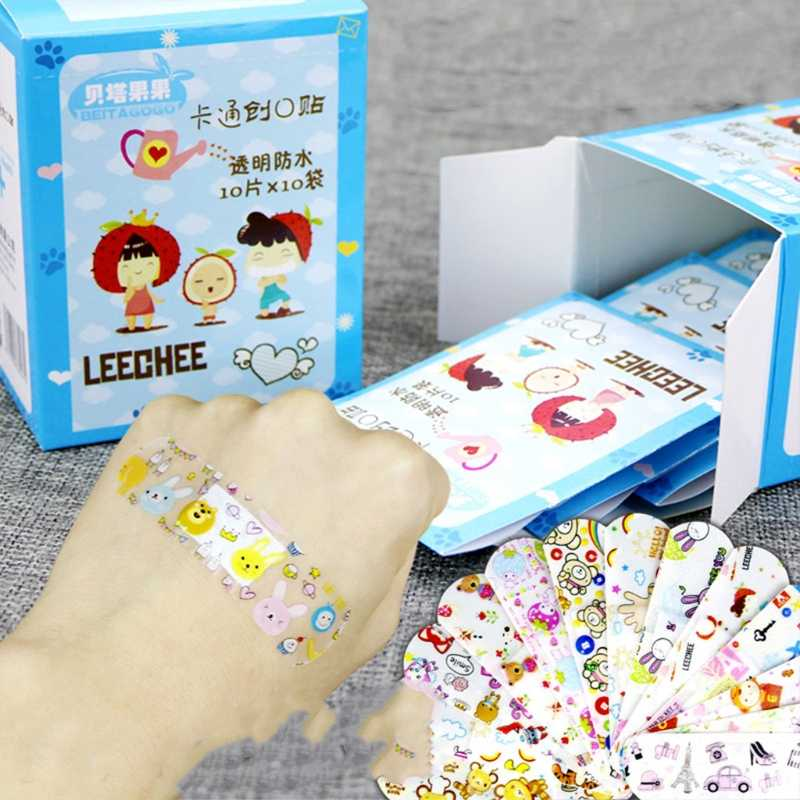 100Pcs Variety Decor Patterns Bandages Cute Cartoon Band Aid For Kids Children Wound Care Braces Supports New