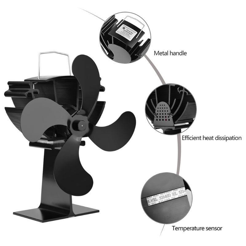 Wood Stove Eco-friendly Fan 4 Blades Heat Powered Log Burner Fireplace Blower Ultra Quiet No Battery Or Electricity