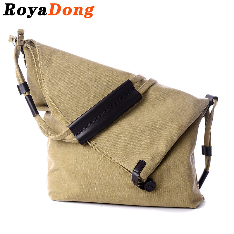 RoyaDong 2017 New Women Messenger Bags Vintage Canvas Big Shoulder Bags Shape Of Bucket Crossbody Bags For Female