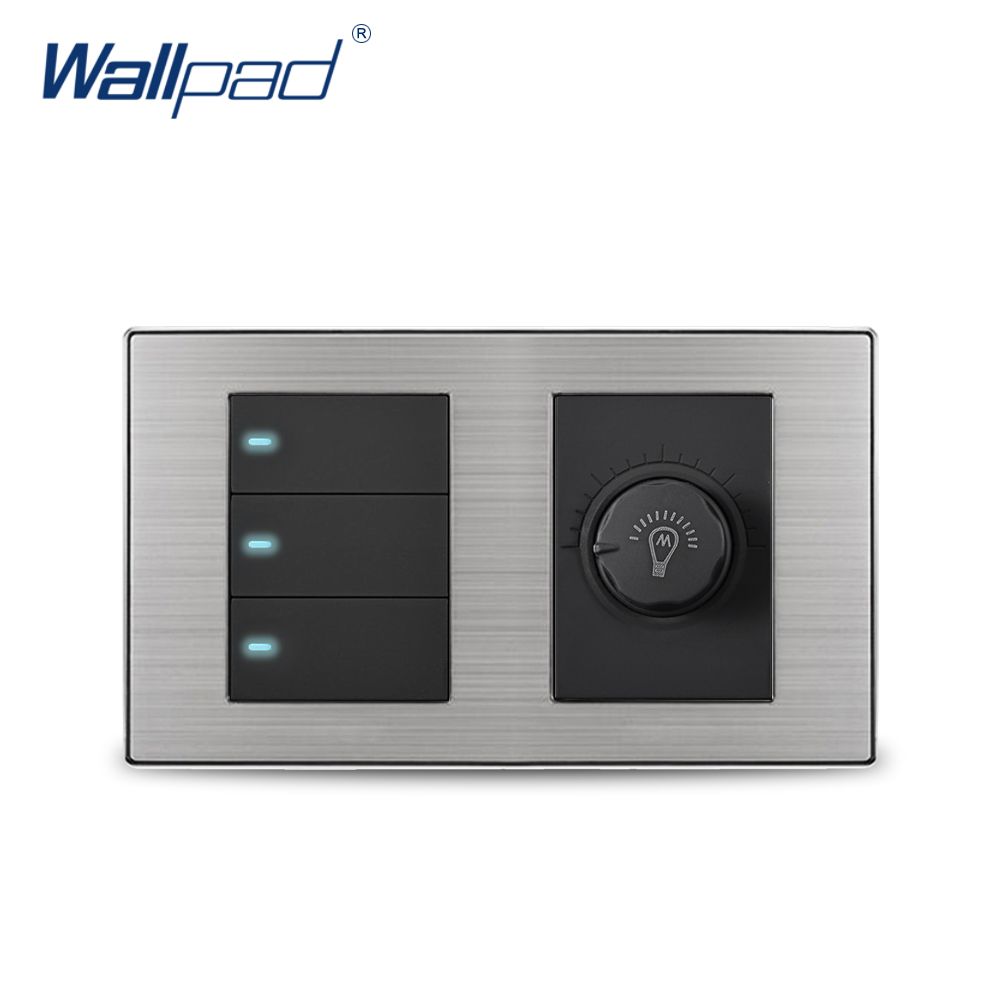 Wallpad 3 Gang 2 Way Switch With Dimmer Luxury Satin Metal Panel Wall Light Switch With LED Indicator 160*86mm цена и фото