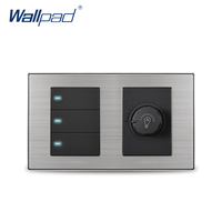 Wallpad 3 Gang 2 Way Switch With Dimmer Luxury Satin Metal Panel Wall Light Switch With LED Indicator 160*86mm