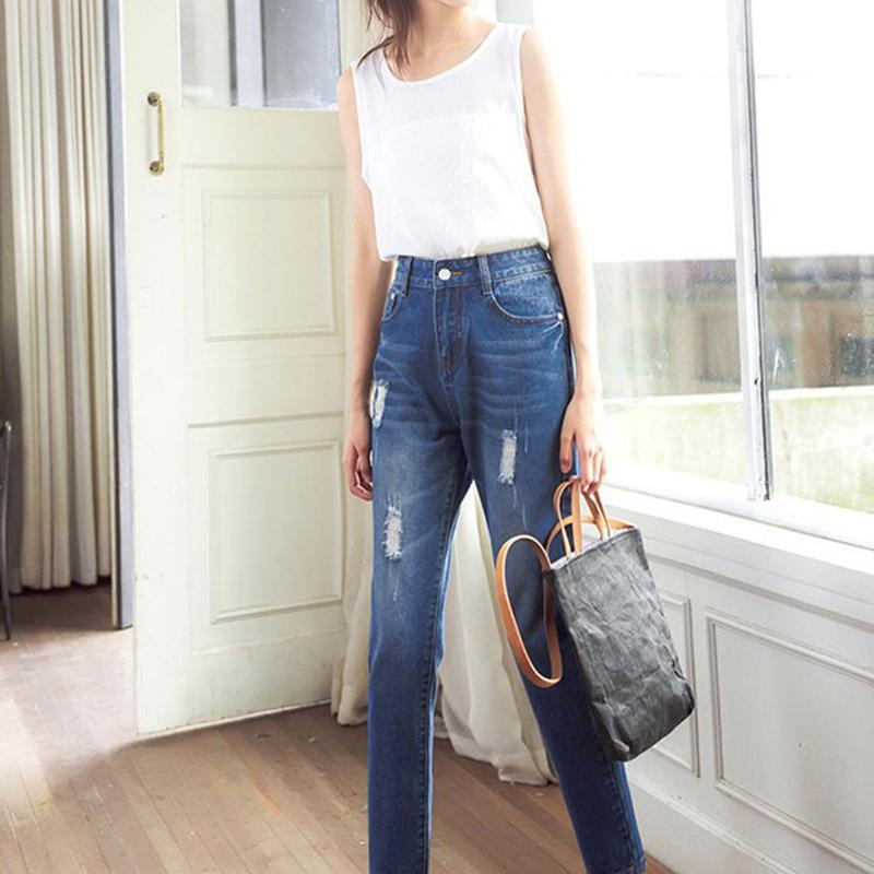 2019 New Yfashion Women Casual Spring Loose High Waist Straight Jeans with Pockets in Pants amp Capris from Women 39 s Clothing