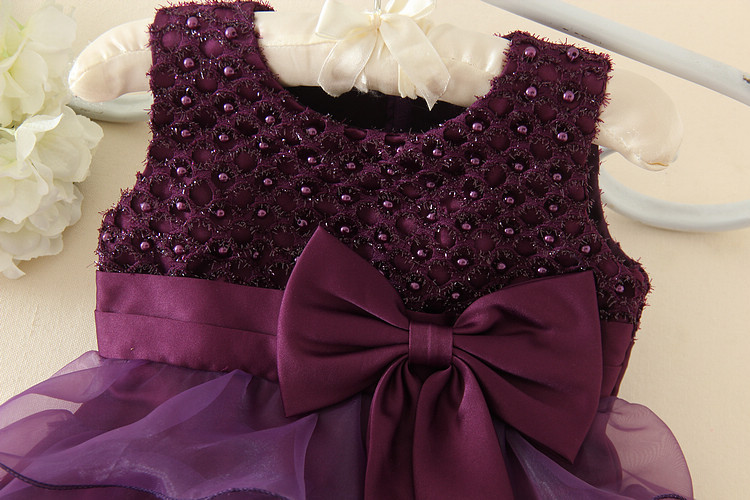 Purple Beading Bow Flower Girl Christening Gowns Baby First ...