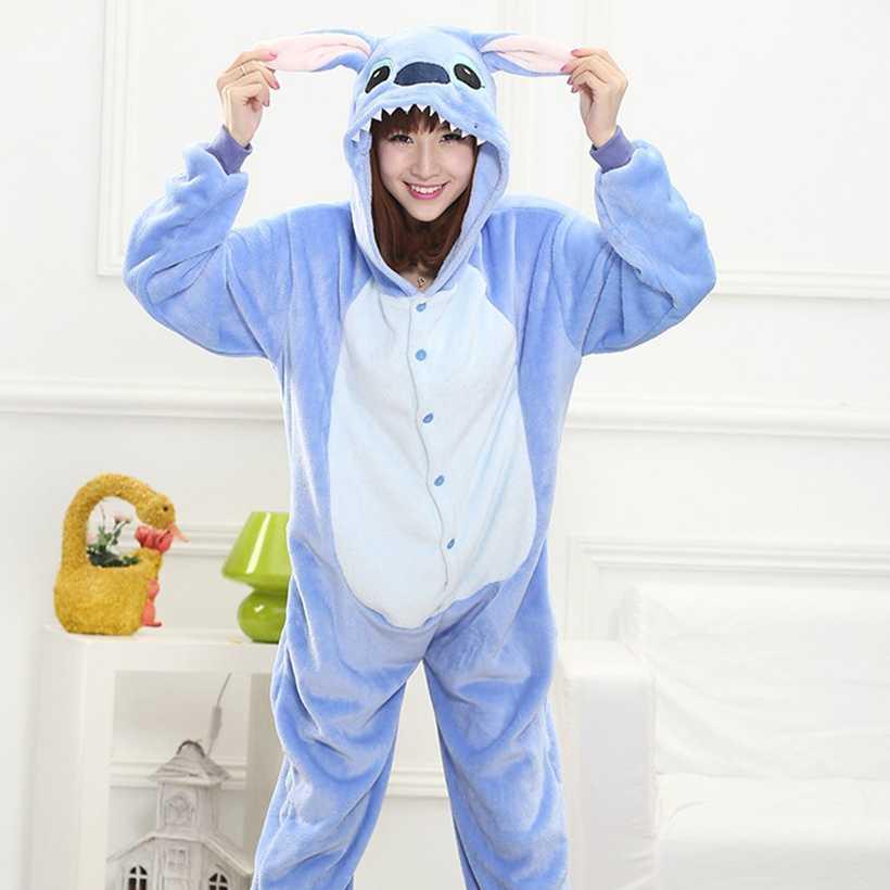 Mùa đông Động Vật Đồ Ngủ Stitch unicornio Ngủ Màu Hồng Unicorn Bộ Kigurumi Phụ Nữ Đàn Ông Unisex Dành Cho Người Lớn Flannel Spiderman Nightie