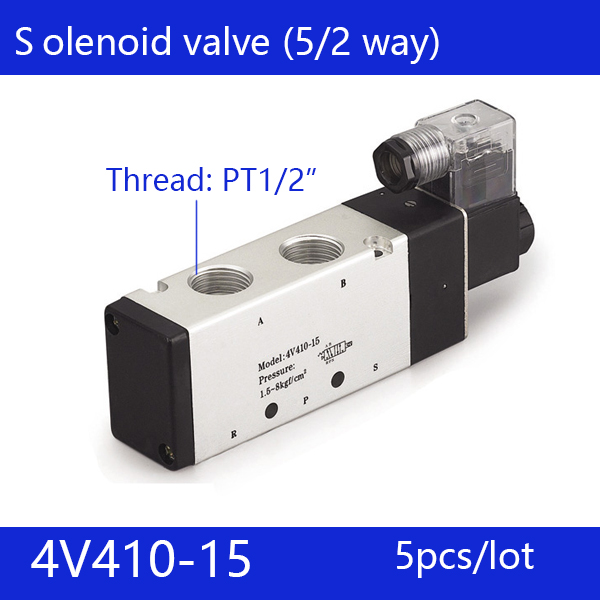 5pcs Free shipping good qualty 5 port 2 position Solenoid Valve 4V410-15,have DC24v,DC12V,AC24V,AC36V,AC220V,AC380V the supply of the original electromagnetic valve 4v410 15 ac220v