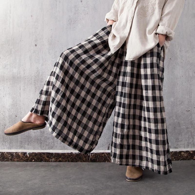 ZANZEA 2018 Women Wide Leg Pants Vintage Check Plaid Strappy Elastic High Waist Trousers Casual Baggy Long Pantalon Streetwear