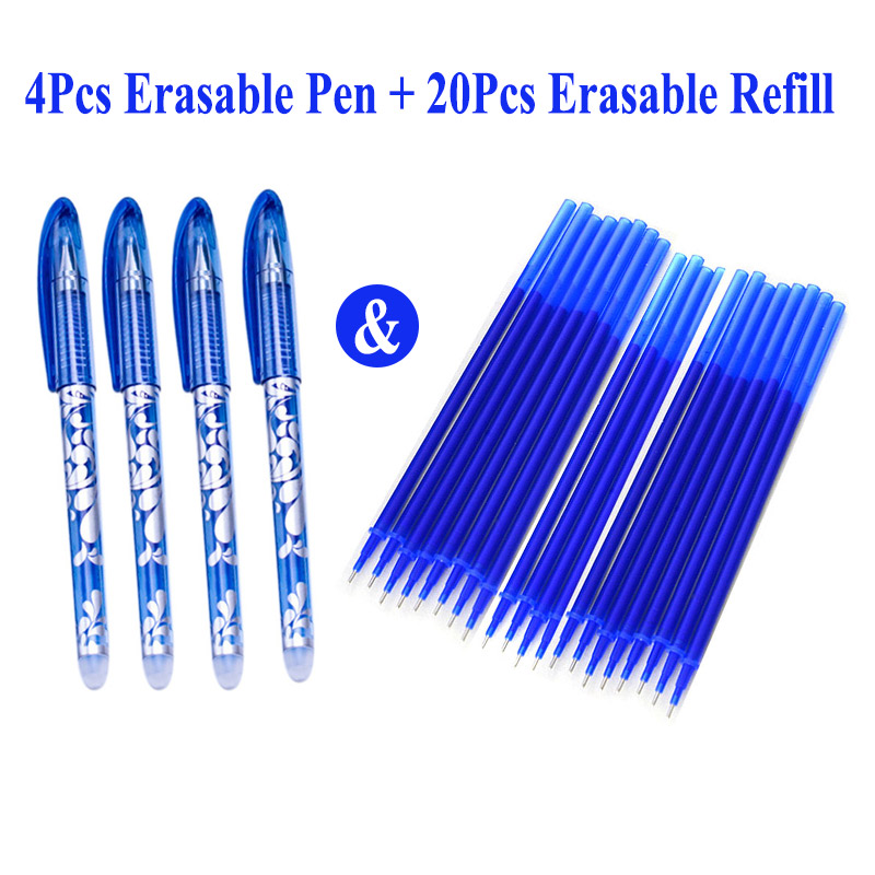 4+20Pcs/Set 0.5mm Erasable Gel Pen Erasable Pen Refill Rod Blue Black Ink Washable Handle School Stationery Office Writing Tools