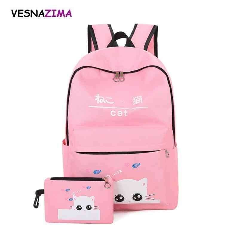 ce02841d2c5c Комплект рюкзака детские рюкзаки ранец распродажа школьный рюкзак Холст кошка  портфель женские рюкзаки рюкзак для девочек