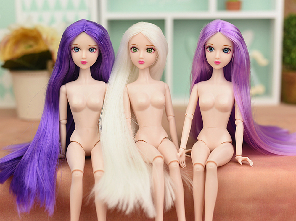 1pc 12inch Naked Moveable 16 Jointed DIY Doll with 3D Real Eyes and Long Hair Doll Head For 30cm 1/6 BJD Doll Girl's Toy Gifts super long brown stright hair doll real eyelash 3d eyes supersize nude naked doll 12 joint moveable for diy barbie doll