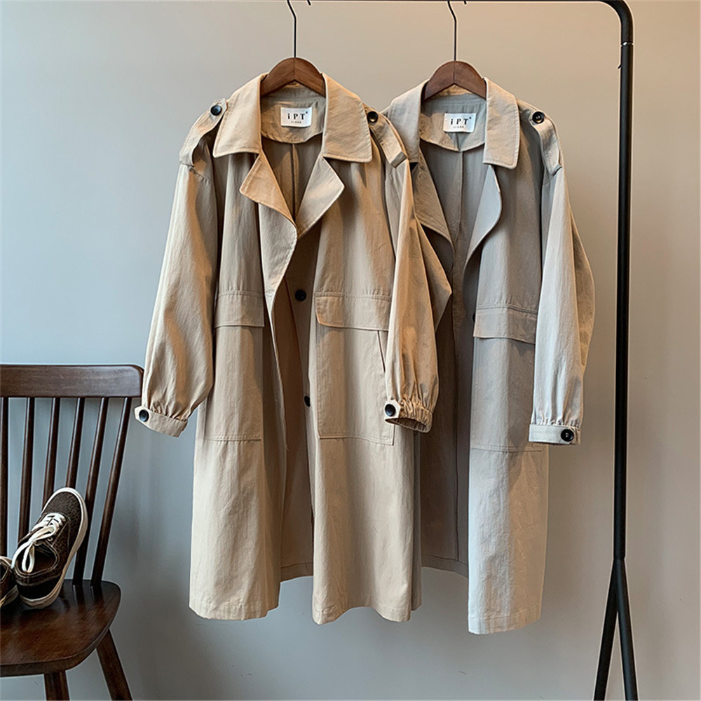 Vintage Cotton Women Coat 2019 Autumn Women's Casual Trench Coat oversize Single Breasted Washed Outwear Loose Clothing 68501 (1)